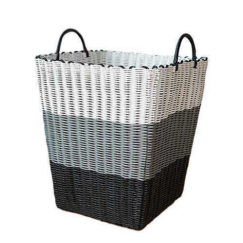 WXF Panier à linge Panier à linge tissé en plastique, stockage sale de vêtements de salle de bains, multicolore en option (Couleur : Style 4)