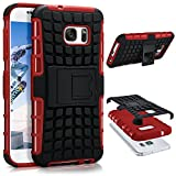 ONEFLOW Samsung Galaxy S7 | Hülle Silikon Hard-Case Rot Outdoor Back-Cover Extrem Stoßfest Schutzhülle Grip Handyhülle für Samsung Galaxy S7 Case Rückseite Tasche