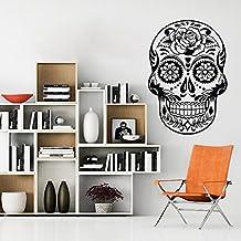 """mairgwall Art adhesivo de azúcar mexicano Calavera Graphic Flor Oficina En Casa Pared Vinilo, vinilo, negro, 64""""h x44""""w"""