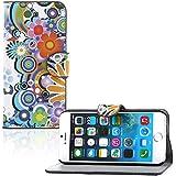 Sofort lieferbar tinxi® PU Kunst Leder Tasche für Apple Iphone 6 / 6s 4.7 Zoll Schutzhülle Flipcase Schale Cover Etui Skin Standfunktion mit Karten Slot Rund und Blumen