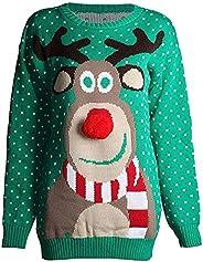 tbd Shulaa - Jersey de punto para niñas unisex con estampado de Rudolph en 3D con pompón para la nariz