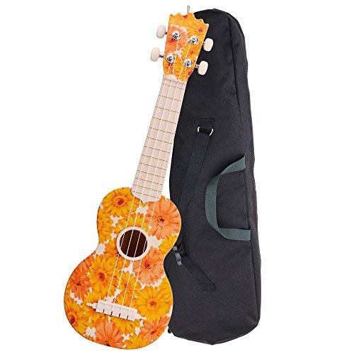 "Classic Cantabile BeachBuddy""Beachflower"" Sopran Ukulele aus ABS Material (Uke, Hawaii Gitarre, PVC Kunststoff, 12 Bünde, 12 Bünde leichtgängige Gitarren-Mechaniken, Outdoor & Strand tauglich)"