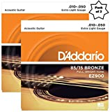#10: D'Addario EZ900 85/15 Bronze Great American Extra Light Acoustic Guitar Strings (2 Pack)