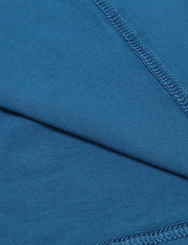 HOTOUCH Damen Langarmshirt Blusenshirt Mit Knöpfen Rundhals Basic Casaul Shirt Typ1-Blaugrün