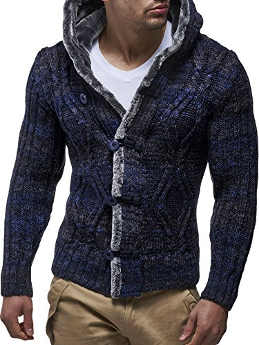 LEIF NELSON Herren Strickjacke Jacke mit Kapuze LN20539N Dunkel Blau