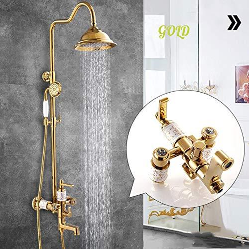 Spray Gold Trim (HUIJIN1 Luxus-Messing-Duschsystem, Rain Mixer Duschkombo-Set, vergoldeter Duschhahn mit Tub Spout Verstellbarer Schieberegler, polierter Chrom,Gold)