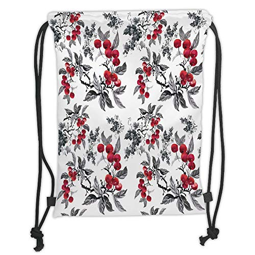 string Backpacks Bags,Rowan,Abstract Modern Garden Theme with Artistic Rowan Plant Botanical Pattern Design Decorative,Ruby Grey Black Soft Satin,5 Liter Capacity,Adjustable St ()