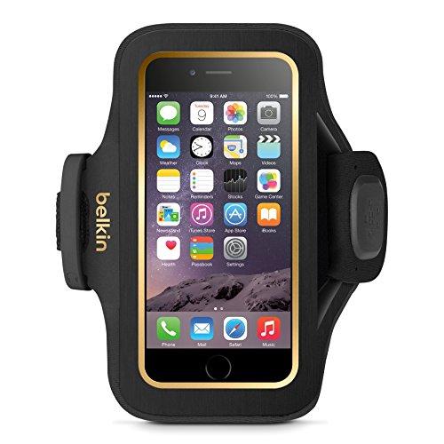 Belkin Slim Fit Plus Sport-Armband (atmungsaktives Neoprenmaterial und verstellbarer Riemen, geeignet für iPhone 6/6s) schwarz -