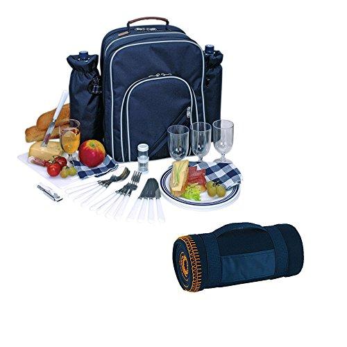Picknickrucksack für 4 Personen inklusive Picknickdecke Blau