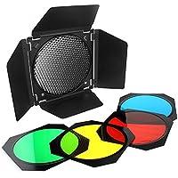 naconic BD-04granero puerta + rejilla de panal + 4filtro de gel de color para flash de estudio