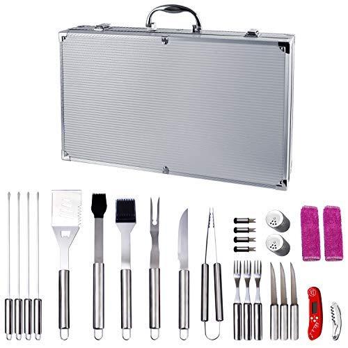 Wolfwise set di utensili per grill valigetta da 27 utensili per barbecue in acciaio inossidabili kit di accensori per bbqportatile a carbonella party griglia cookout bbq,27 pezzi di utensili