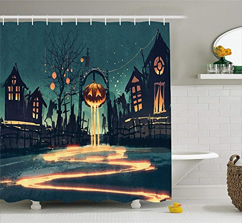 use Decor Shower Curtain by, Halloween Theme Night Pumpkin and Haunted House Ghost Town Artful, Fabric Bathroom Decor Set with Hooks, 66x72 inches Extra Long, Teal Orange ()
