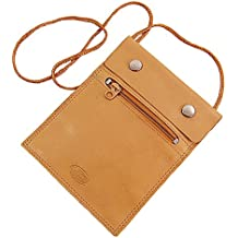 BRANCO sehr flacher Leder Brustbeutel Brusttasche Umhängebeutel Geldbeutel Security Wallet in verschiedenen Farben verfügbar GoBago