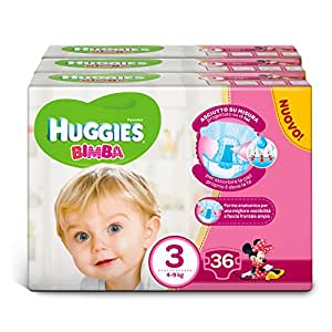 Huggies Pannolini Bimba, Taglia 3 (4-9 kg), 3 Confezioni da 36 [108 Pannolini]