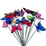 DDG EDMMS Schmetterling auf der Nachahmung Stock. Bunte Garten schmetterlingsBlumenDekoration Terrasse Ornament Pflanzendekoration, Außen Hof 10Pcs
