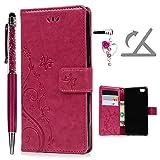 Huawei P8 Lite Hülle, Pincenti Leder Flip Wallet Cover Karteneinschub und Magnetverschluß in Rose rot Schmetterlings-Rebe für Huawei P8 Lite+ Stylus Stift +Staubstecker