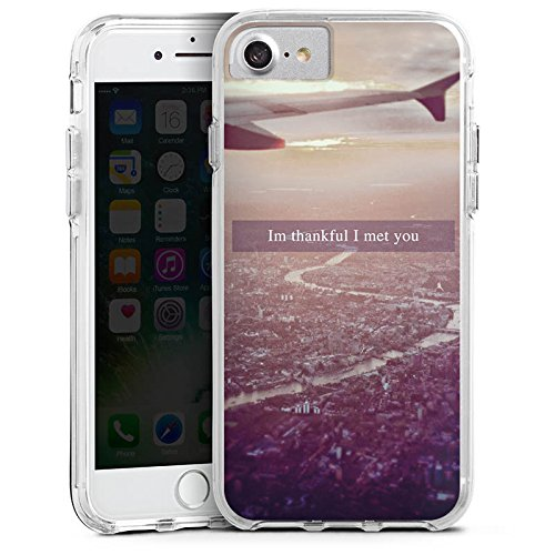 Apple iPhone 6 Bumper Hülle Bumper Case Glitzer Hülle Airplane Flugzeug Urlaub Bumper Case transparent