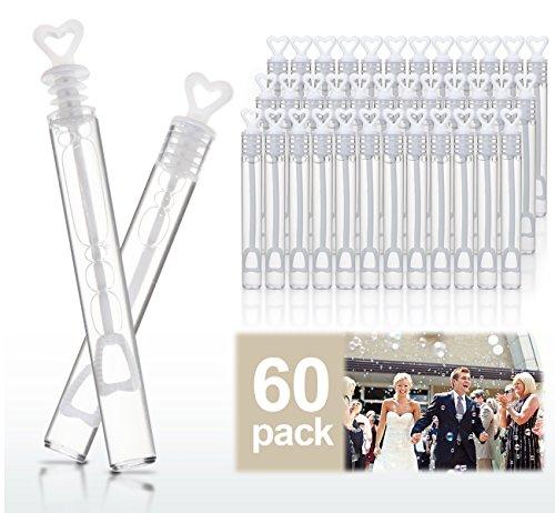 Cubewit 60 flacons de bulles de mariage Cœur Tube Bubble dragées de mariage Décoration de table Accessoires de fête