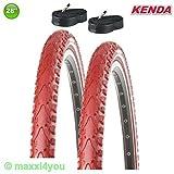 KENDA 2 x Premium Fahrradreifen Rot + Schläuche 28 x 1.50 40-622