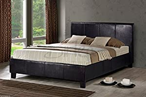 Brown Faux Leather Double Bed Frame (4FT6) - inexpensive UK bed store.
