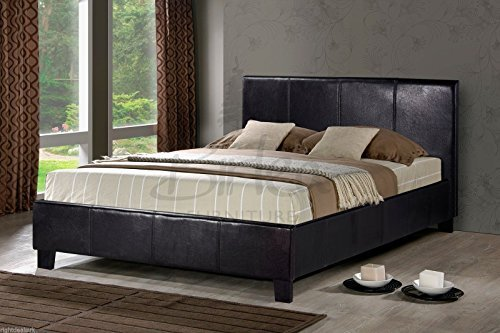 brown-faux-leather-double-bed-frame-4ft6