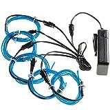 Lychee Flexibel 5x1 m Neon Beleuchtung Draht Lichtschlauch Leuchtschnur EL Kabel Wire mit 3 Modis für Partybeleuchtung(Blau)