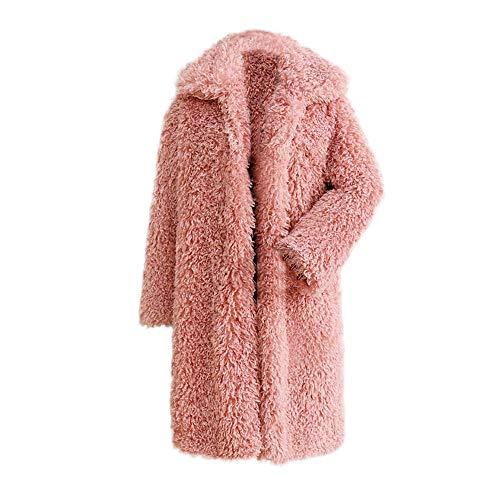 Riou Kapuzenjacke Damen Mäntel,Winter Warmer Hoodie Pullover lang Strickjacke Winterjacke Frauen Dicker Mantel Fester Mantel Pelz Jacken Wollmantel Mantel (3XL, Rosa)
