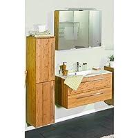 Lomadox Badezimmer Set Bambus massiv lackiert, Waschtisch mit Unterschrank  und 90cm Waschbecken