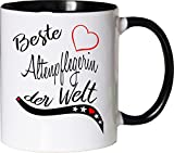 Mister Merchandise Becher Tasse Beste Altenpflegerin der Welt. Kaffee Kaffeetasse liebevoll Bedruckt Beruf Job Arbeit Weiß-Schwarz