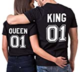 King queen shirts Partner Look Pärchen T-Shirt Set Pärchen (bk-King-M+bk-Queen-S)