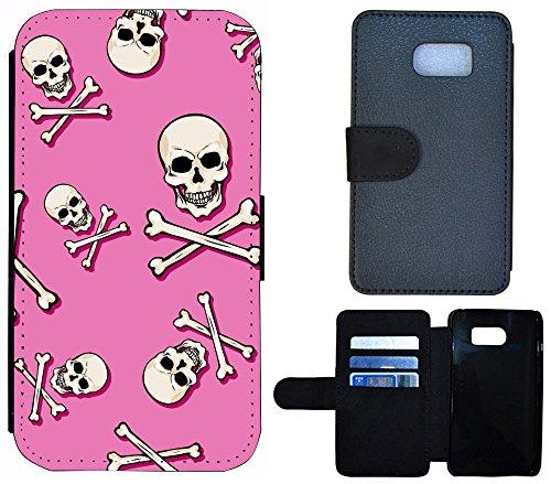 Coque Flip Cover Housse Etui Case Pour, Tissu, 1244 Wolf Grau, Apple iPhone 4 / 4s 1247 Totenkopf Bones Rosa Weiß