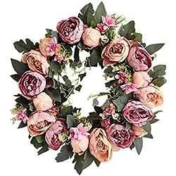HooAMI Deko Kranz Wandkranz Kuenstliche Blumen Girlande mit Kranz Fuer Outdoor Sommer Hochzeit Wohnung Tuerkranz 40cm - Lila