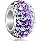 Pugster Damen-Beads Sale Art Silver Weiß Lila Farbe Pale Element Kugel Fit Pandora Anhänger Charms