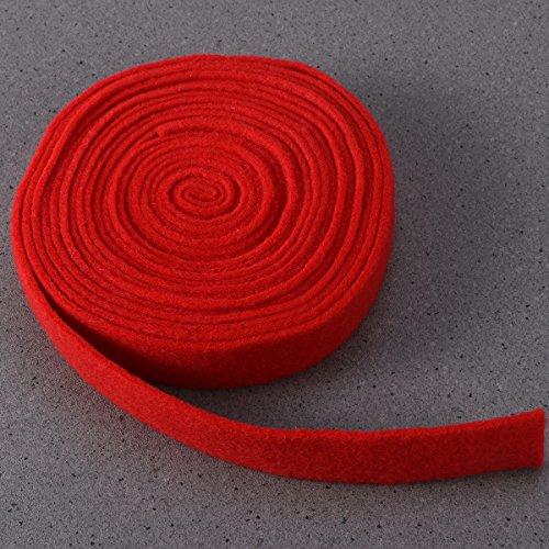 OULII Filzband Bastelfilz für DIY Handwerk Patchwork Weihnachten Hochzeit Dekoration Basteln 3cm x 500cm (Rot)