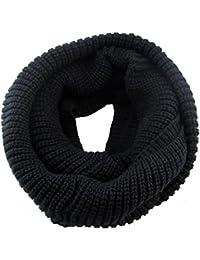 Butterme Unisex Hecho A Mano Invierno Cálido Snood Bufanda Loop Thick Crochet Círculo Tricotado Bufandas Infinity(Negro)