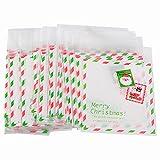 10*13cm 200pz Sacchetti Natale Bustine Sacchettini Natalizi Plastica Alimentari con Striscia Adesiva per Bomboniera Dolci Alimenti Confetti Biscotti
