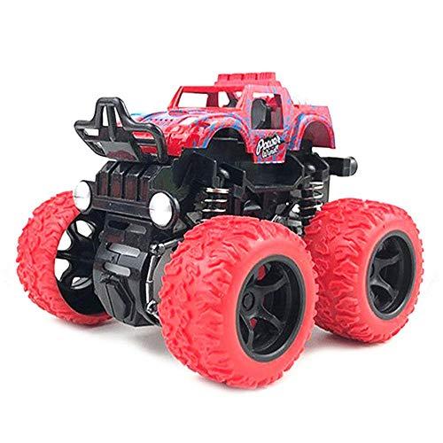 FOONEE Inertia Auto-Spielzeug, Monster-Trucks, Off-Road-Spielzeug für Jungen Mädchen, Push & Go Fahrzeuge, 4 Räder, große Reifen, 360 Grad Drehung, Federungssystem rot - Mädchen, Monster-lkw-spielzeug