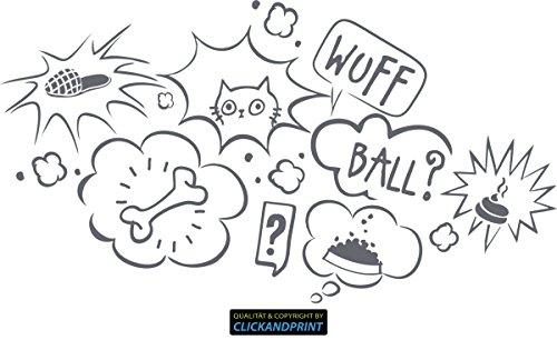 CLICKANDPRINT Aufkleber » Gedanken deines Hundes, 30x16,4cm, Betongrau • Wandtattoo / Wandaufkleber / Wandsticker / Wanddeko / Vinyl (Aufkleber Hundefutter)