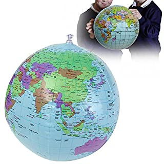 ADAALEN 40cm Inflatable World Earth Globe Atlas Map Beach Ball Science Geography Education