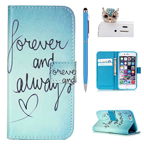 iPhone 4S Ledertasche, Felfy Ultra Slim Flip Bookstyle für / Apple iPhone 4/4S / Vintage Weinlese Paris Eiffelturm Muster / PU Leder Wallet Case Cover Handytasche Etui Schutzhülle Holster / 1x Bling E Forever and Always