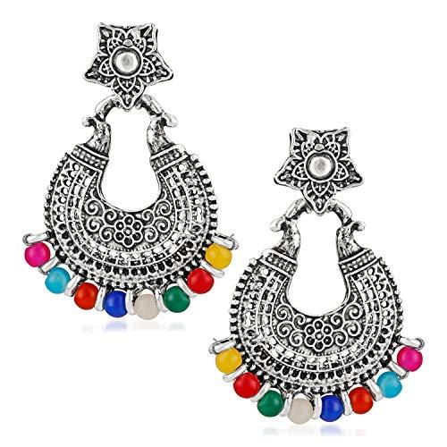 Om Jewells Silver Oxidised Multicolour Beads Dangler Earrings for Girls and Women ER1000093