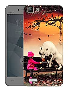 """Humor Gang Cute Girl And FoxPrinted Designer Mobile Back Cover For """"Vivo X3S"""" (3D, Matte Finish, Premium Quality, Protective Snap On Slim Hard Phone Case, Multi Color)"""
