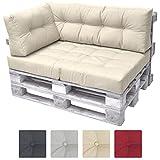 Beautissu Cuscino laterale per divano di pallet ECO Elements 60x40x10-20cm - per divani con bancali di legno - beige immagine
