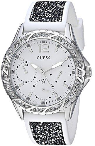 Guess orologio al quarzo in acciaio INOX e silicone casual da donna, color bianco (Model: U1096L1)