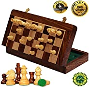 BKRAFT4U Handmade Wooden Rosewood Foldable Magnetic Chess Game Board With Storage Slots, 10 Inch