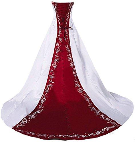 Vantexi Damen Trägerloses Stickerei Brautkleid Hochzeitskleider Weiß Burgund 36