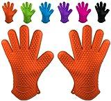 Belmalia 2 guanti da forno in silicone per cucina e griglia, kit, coppia, presine, guanti da forno Arancione