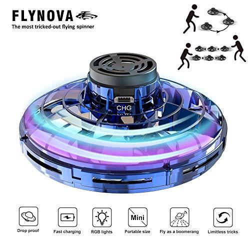Tawcal Fliegende Spinner Spielzeug Drohne, Handgesteuertes Mini Drohne UFO mit 360-Grad-Drehung und LED Licht Hubschrauber Fliegender Ball Drohne Spielzeug für Kinder und Erwachsene(Blau)