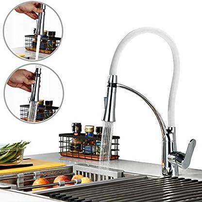 PHASAT Grifo de Cocina Extraíble 2 Funciones Blanco Silicona 360° Giratorio Grifo de Fregadero Monomando de Grifería Cocina Agua Fría y Caliente V43