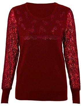 iBaste Suéter Básico Mujer Elegante Invierno Costura de Encaje para Vestir de Base y Externo
